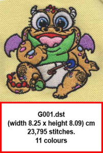 iEmbroidery-Baby-Dragon-stitch-on-polo-fabric